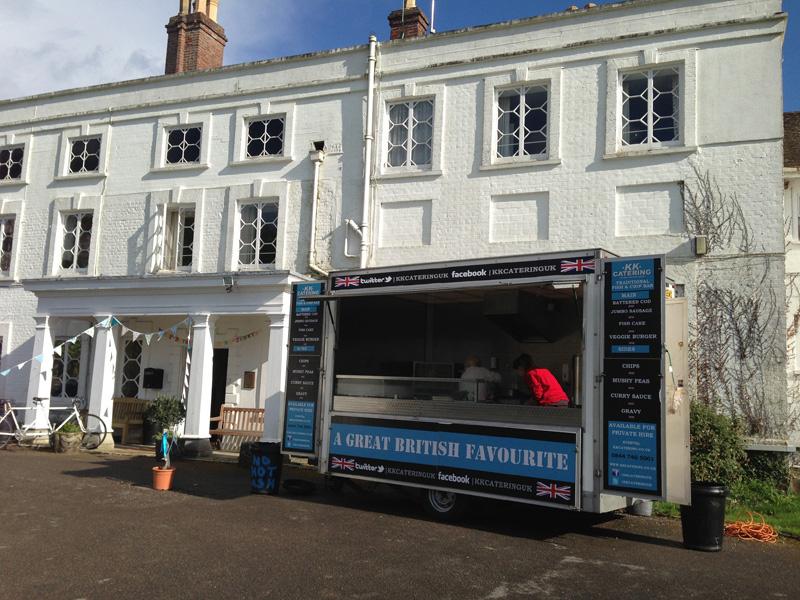 fish & chip van hire outside a beautiful wedding venue