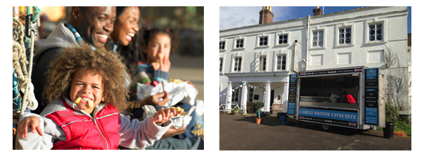 Image of our fish and chip van with a child at the party enjoying their fish and chips