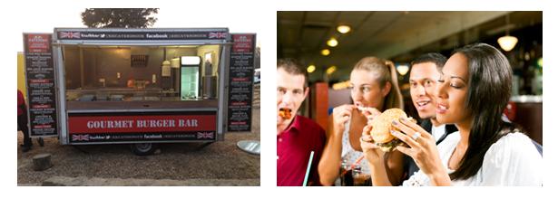 Gourmet Burger Van and Customer eat burger at a party