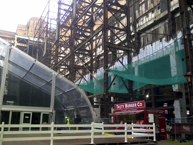 Burger van at construction site