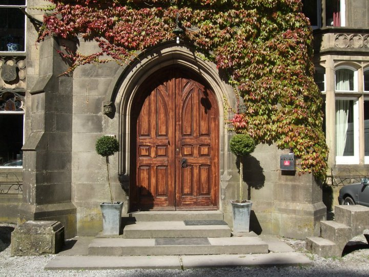 The beatiful front doors of the DIY wedding venue Hargate Hall