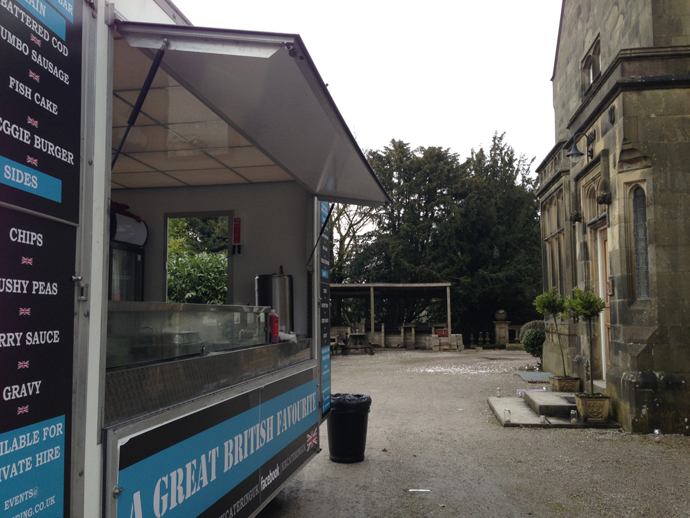 A KK Catering fish and chip van parked at DIY wedding venue Hargate Hall